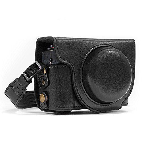 MG431 Megagear  Lederen Camera Case altijd klaar voor Canon PowerShot G7X Digitale Camera (Zwart)