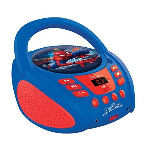 RCD108SP Lexibook Marvel Spider-Man Peter Parker Gettoblaster CD-speler, microfoon meegeleverd, AUX-IN-aasluiting, Werk met AC of batterij, Blauw/Rood, _10