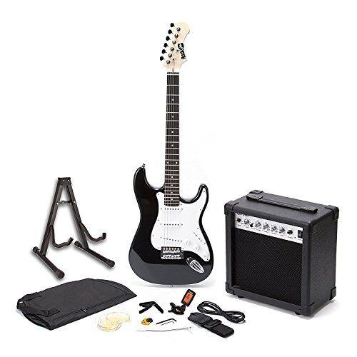 RJEG01-SK-BK RockJam Full-size elektrische gitaar Superkit met gitaarversterker Gitaarsnaren Gitaar tuner Gitaarriem Gitaarkoffer en kabel Zwart