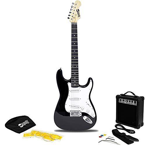 RJEG02-SK-BK RockJam  Full Size elektrische gitaar Superkit met gitaarversterker Gitaarsnaren Gitaarriem Gitaartas en gitaarkabel Zwart