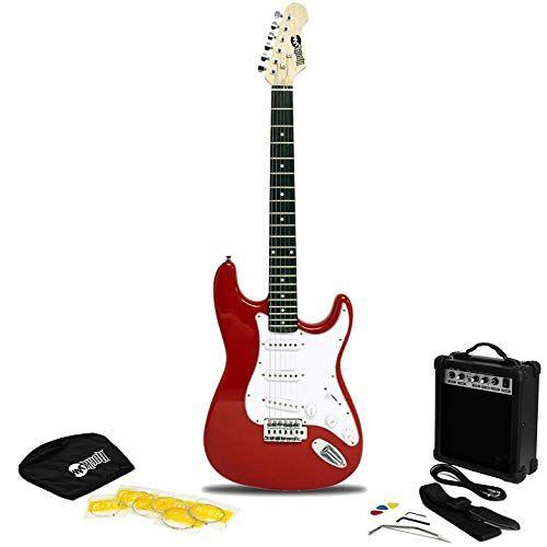 RJEG02-SK-RD RockJam Full Size elektrische gitaar Superkit met gitaarversterker Gitaarsnaren Gitaarriem Gitaartas en gitaarkabel rood
