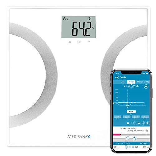 40441 medisana BS 445 connect, digitale weegschaal voor lichaamsanalyse 180 kg, personenweegschaal voor het meten van lichaamsvet, lichaamswater, spiermassa en botgewicht, lichaamsvetweegschaal met app