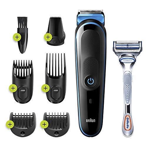 SHAV042 Braun MGK3242 7-in-1 multigroom, Baardtrimmer Voor Mannen, Gezichts- En Haartrimmer, Zwart/Blauw
