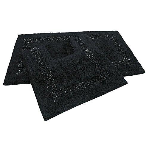 Tony's Textiles Emma Barclay Badkamerset Brillaire Zwart, 98% Katoen 2% Lurex, Mat 50x80cm/Voetstuk 50x40cm