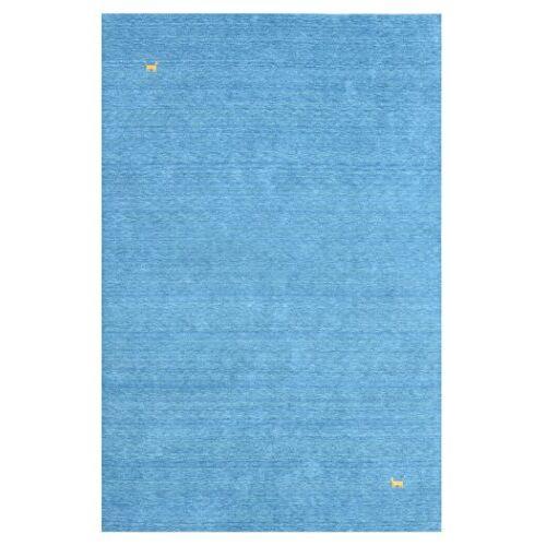Morgenland Teppiche Morgenland Gabbeh tapijt ASTERIA blauw effen dieren scheerwol handgeweven 140 x 70 cm