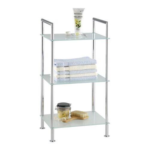 Wenko Badkamerrek Style 3 gesatineerde glasplaten, staal, 37 x 71 x 28,5 cm, chroom