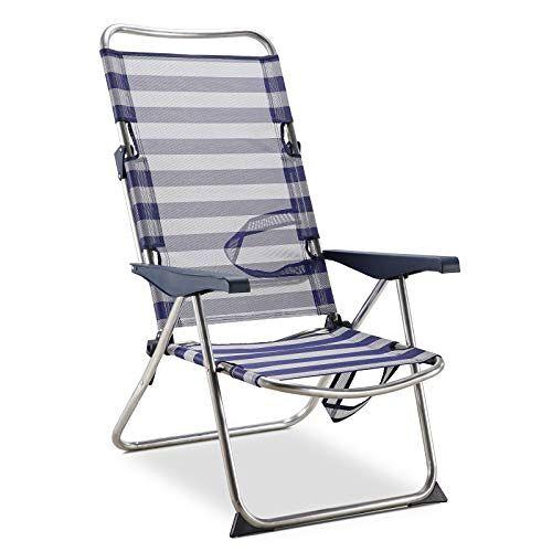 Solenny 50001072725175 strand-/bedstoel, 4 posities, met handgrepen, met stabilisatoren, blauw en wit