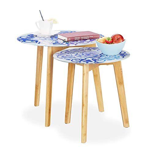Relaxdays , wit/blauw set van 2 bijzettafels, bamboe poten, glazen tafelblad, zettafels, bloemenpatroon, 40 & 50 cm Ø, 45 x 50 x 50 cm
