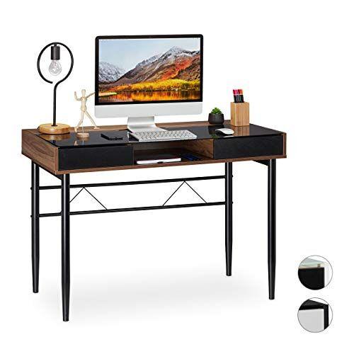 Relaxdays Glazen schrijftafel met schuifladen, PC-glazen tafel, HBT 78 x 110 x 55 cm, houtlook