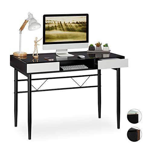 Relaxdays Glazen schrijftafel met schuifladen, PC-glazen tafel, HBT 78 x 110 x 55 cm, zwart
