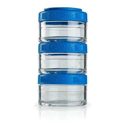 BlenderBottle GoStak container voor het bewaren van eiwitten, eiwitten, poeder, vitaminen en meer; 3-pak 60 ml (3 x 60 ml), cyaan