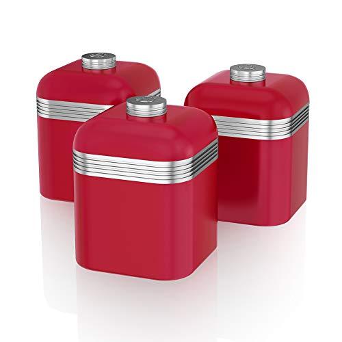 Swan SWKA1020RN kruidenpotjes, 1 liter, ijzer, verchroomd, rood, metaal, 12 x 12 x 17 cm, 3 stuks