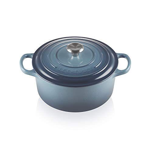 Le Creuset Platte gietijzeren braadpan met deksel, rond, roestvrij stalen knop, Ø 22 cm, voor alle kachels en fornuizen (incl. inductie), marineblauw