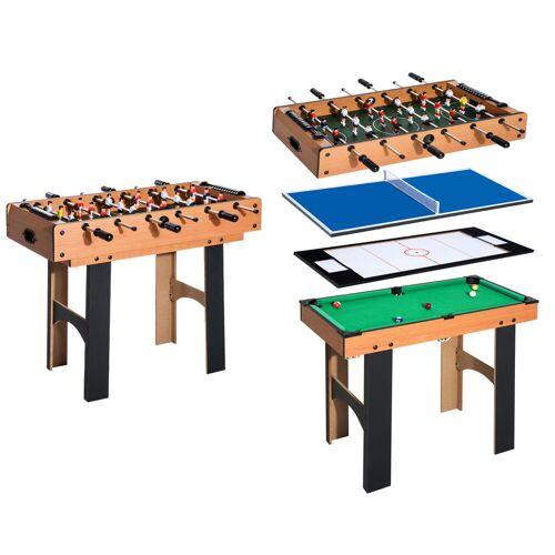 HOMCOM 4-in-1 multispeltafel tafelvoetbal speltafel biljart tafeltennis hockeytafel hockey