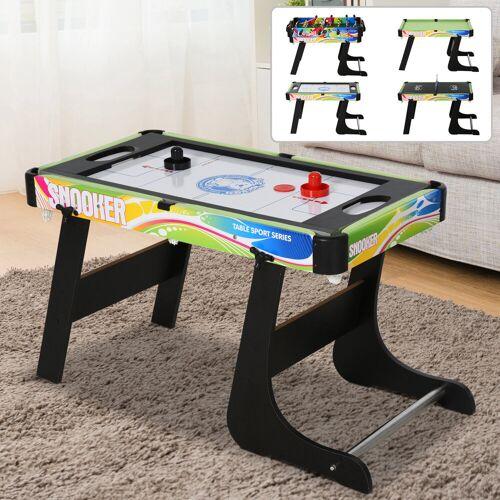 HOMCOM Tafelspel 4-in-1 tafelvoetbaltafel voor voetbal, hockey, tafeltennis, biljart, multigame