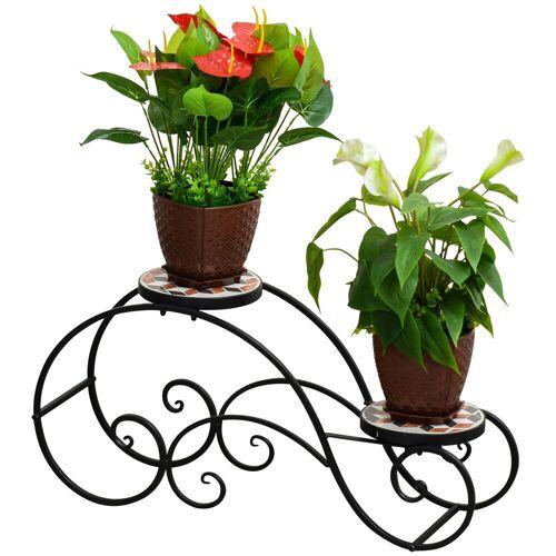 Outsunny Bloementrap plantenrek 2 niveaus plantenstandaard retro design decoratie metaal
