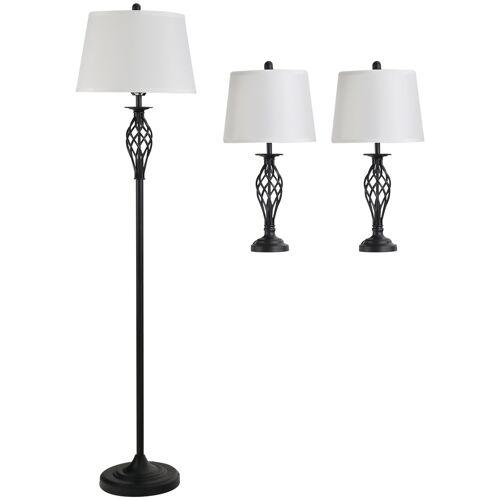 HOMCOM Set van 3 lampen: 2 tafellampen (ø38 x 158 cm) + 1 vloerlamp (ø30 x 62 cm) wit