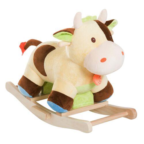 HOMCOM Kinderen schommel speelgoed baby schommeldier schommelpaard schommelkoe koe bruin