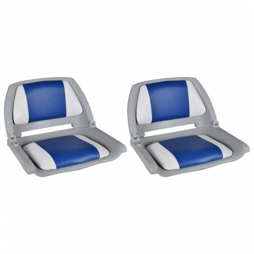 Bootstoelen 2 St Inklapbare Rugleuning 41x51x48 Cm Blauw Wit