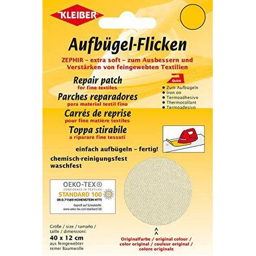 Kleiber + Co.GmbH opstrijkbare vlekken Zephir, crème, ca. 40 cm x 12 cm