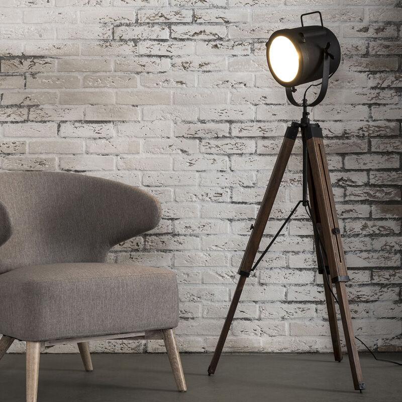 Image of LUMZ Houten vloerlamp industrieel