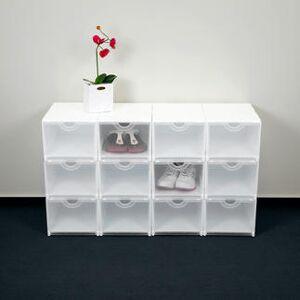 Surplus Geniale vouwboxen, wit/transparent - Set van 4