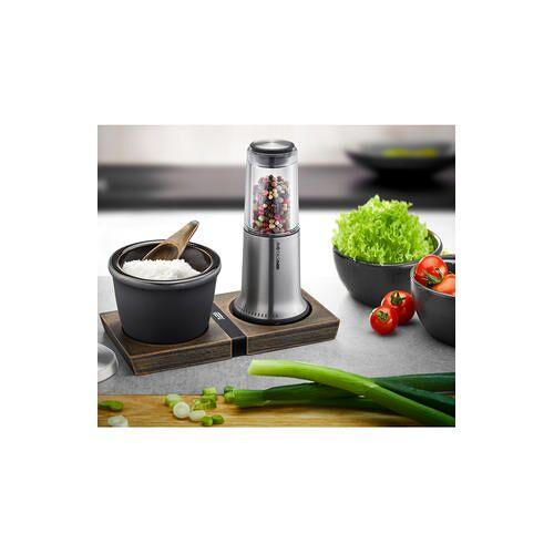 Direct leverbaar Peper-/zoutmolen of SpecerijenpotjeX-Plosion®, Peper-/zoutmolen, specerijenpotje, onderzetter (set van 3)