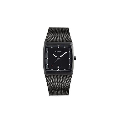 Direct leverbaar Obaku vierkant horloge, herenhorloge, zwart