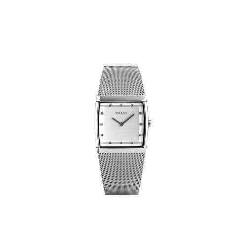Direct leverbaar Obaku vierkant horloge, dameshorloge, zilver