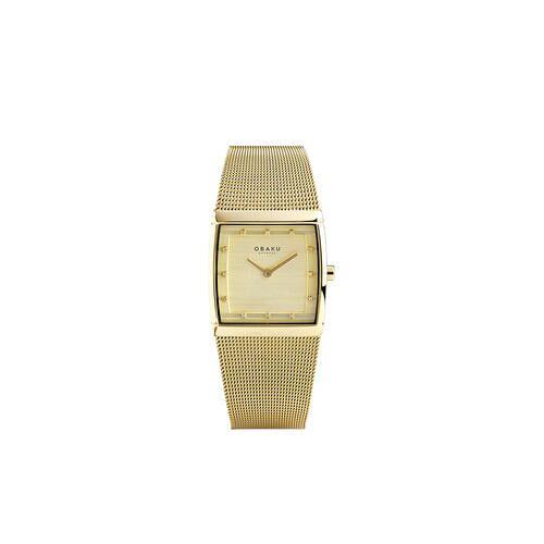 Direct leverbaar Obaku vierkant horloge, dameshorloge, goud