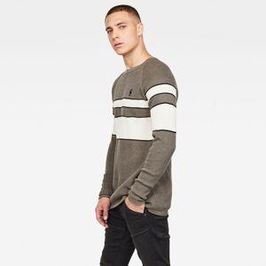 G-Star RAW Raglan Block Stripe Gebreide Trui  - Male - Grijs - Grootte: Small