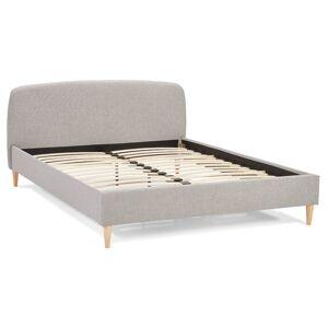 Alterego Bed 'DREAM' met lichtgrijze stoffen bekleding voor 2 personen - 160x200 cm