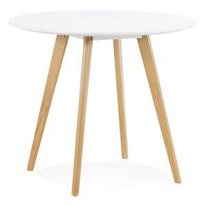 Alterego Witte ronde keukentafel 'MIDY' in Scandinavische stijl - ø 90 cm