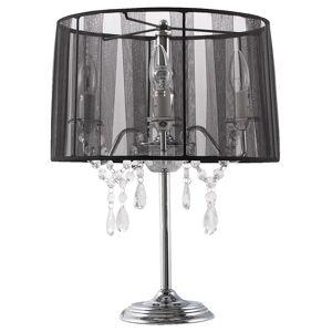 Alterego Zwarte, barok bedlamp 'KLASSIK' in de vorm van een kandelaar, met passementstro