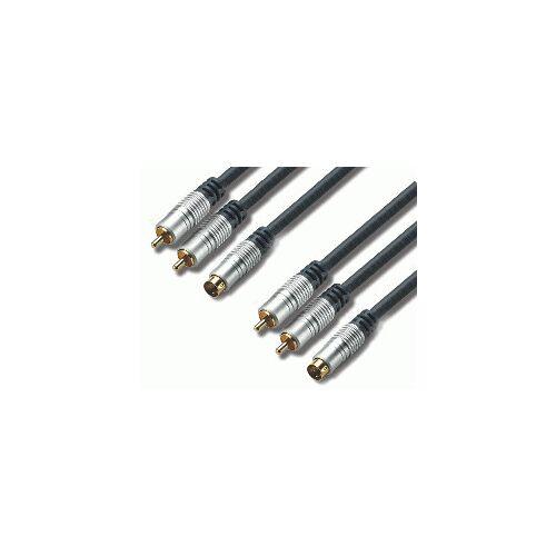 EDC S-VHS +2x Cinch naar S-VHS +2x Cinch Kabel 1,5 Meter