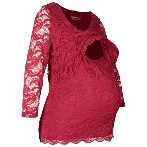 bonprix Dames zwangerschapsshirt / voedingsshirt met kant 3/4-mouw in rood - bonprix