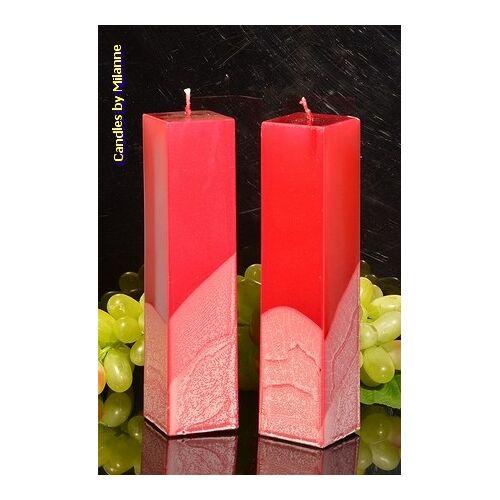 Candles by Milanne Kwadrant kaarsen, ROOD METALLIC, hoogte 22 cm, 2 STUKS - kaarsen