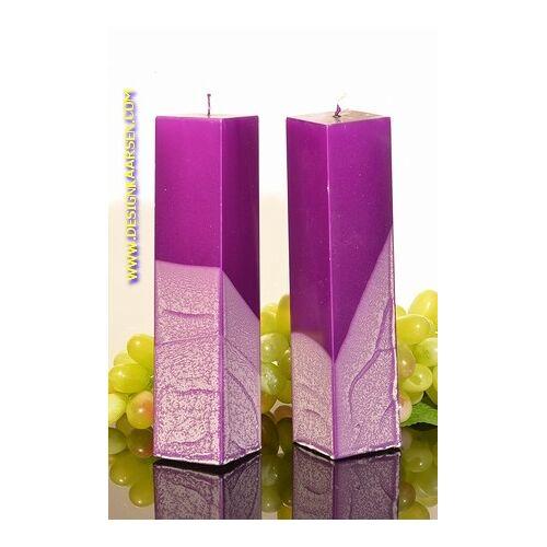Candles by Milanne Kwadrant kaarsen, LILA METALLIC, hoogte 22 cm, 2 STUKS - kaarsen