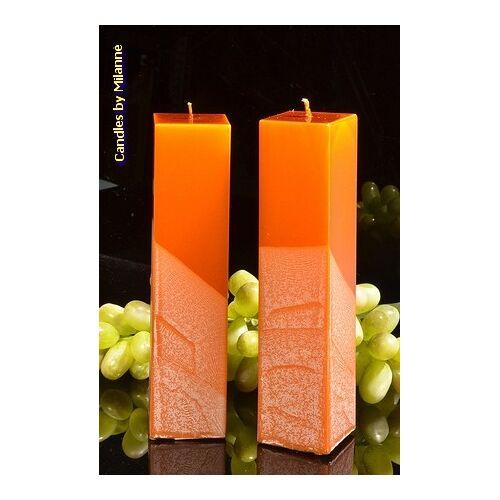 Candles by Milanne Kwadrant kaarsen, KOPER METALLIC, hoogte 22 cm, 2 STUKS - kaarsen