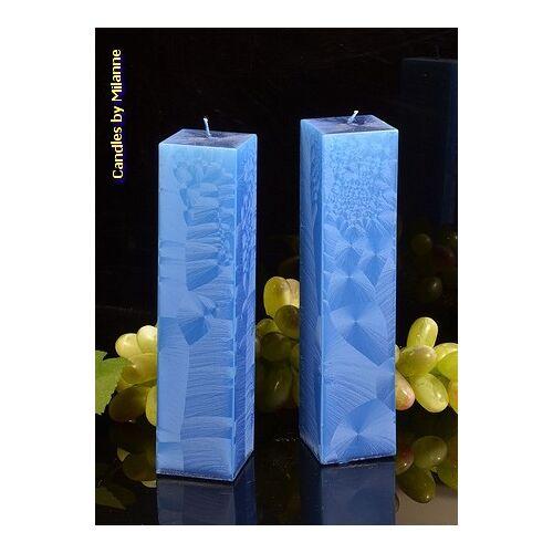 Candles by Milanne Kwadrant kaarsen BLAUW POLYMICO, hoogte 22 cm, 2 STUKS - kaarsen
