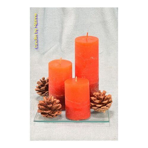 Kerst geschenkset met 3 RODE kaarsen en dennenappels - kaarsen
