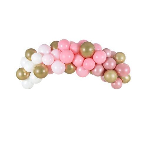 Feestbazaar Ballonboog Set Roze/Goud (2m)