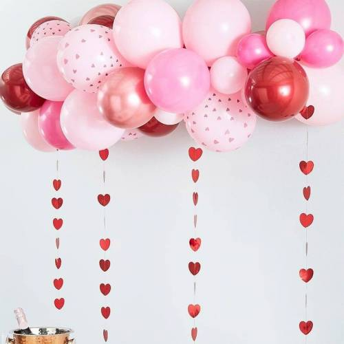 Feestbazaar Luxe Ballonboog Set Love Rose Goud, Pink, Rood