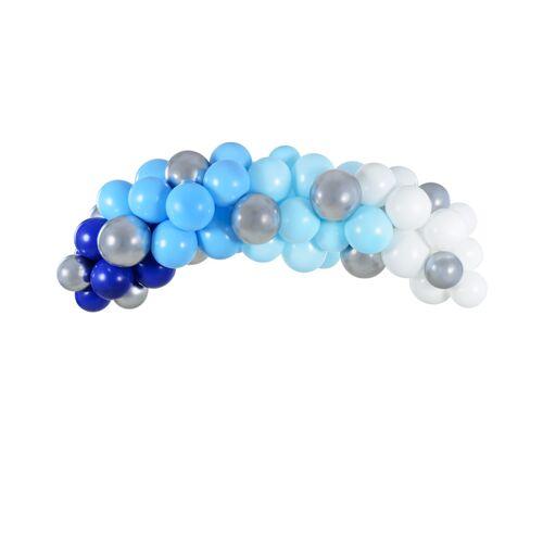 Feestbazaar Ballonboog Kit Blauw/Zilver 200cm