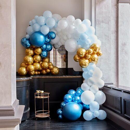 Feestbazaar Luxe Ballonboog Set Blauw/Goud Premium