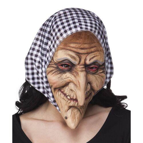 Feestbazaar gezichtsmasker Heks met kap zwart/wit