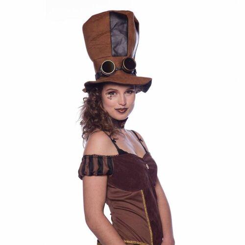 Feestbazaar Steampunk hoge hoed met bril