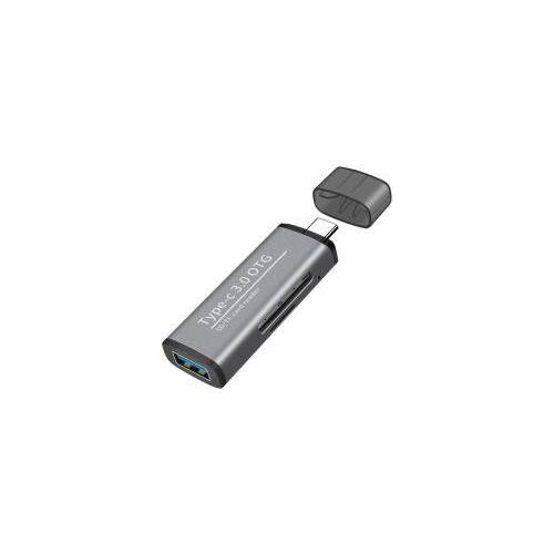 Compacte USB-C Kaartlezer Voor USB / Micro-SD / SD Kaart Grijs