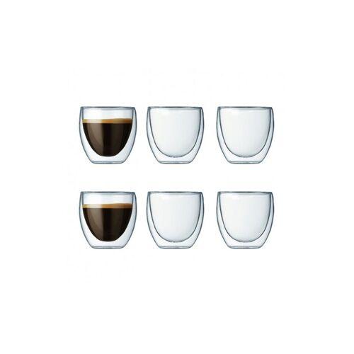 Bodum set van 6 dubbelwandige pavina glazen 0,08 l transparant