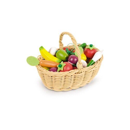 Janod Mand Met 24 Stuks Groente En Fruit